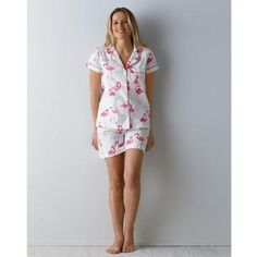 84fd6b7043f6 Whimsical warm-weather pajama shorts for women. Two-piece set includes  pajama shorts   short-sleeve top.