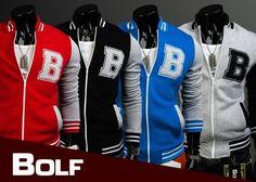 BOLF 10 - eine Baseball-Jacke ohne Kapuze mit Reißverschluss, originell von Bolf