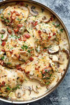 Creamy Garlic Parmesan Mushroom Chicken & Bacon | http://cafedelites.com
