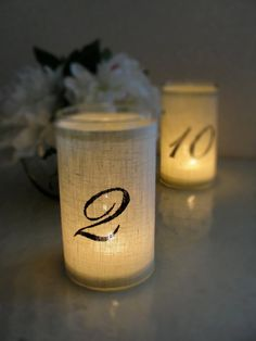 Great and easy idea for wedding table numbers. On centerpiece bases?