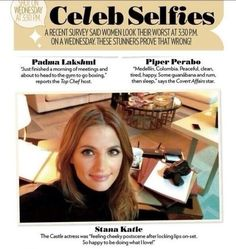 all sorts of unbelievably beautiful  Stana Katic in People's Most Beautiful issue - Celeb Selfies category.