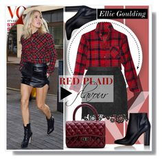"""Ellie Goulding - Red Plaid Flavour"" by anne-mclayne ❤ liked on Polyvore featuring Gianvito Rossi, women's clothing, women, female, woman, misses and juniors"
