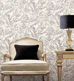 #wallpaper is an easy way to add to your #homedecor.  This sitting room was brought to life with the leaf textured wallcovering. #walldecor  Designer wallpapers from -> http://wallcoverings2u.com/12-wallpaper