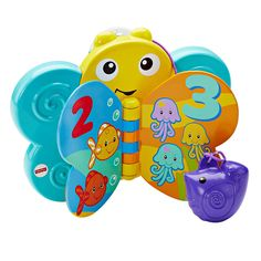 Babies are like little sponges when it comes to learning and this bath toy is no exception! With two pages to flip that help exercise fine motor skills, introduce counting and teach numbers up to 4, your little one will soak up a lot during tub time! The adorable butterfly suctions to the tub wall to make flipping pages easy. There's even a chunky birdie squirter that's sized just right for your little squirt to grasp and squeeze. Having fun is easy as 1-2-3-4 with the Fisher-Price…