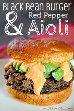 Black Bean Burger with Red Pepper Aioli: My family really loved this meal and with the leftover bean mixture (I only made 4 burgers) I made black bean tacos the next night, which was also a big hit. I slathered mine in the Red Pepper Aioli. Black Bean Tacos, Black Bean Burgers, Black Burger, Aioli, Meatless Burgers, Veggie Burgers, Grilling Burgers, Vegetarian Recipes, Cooking Recipes