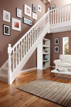 Make a grand entrance to your home with this stylish banister project kit. Comes complete with everything you need to transform a 12 step flight of stairs . White Banister, White Staircase, Staircase Railings, Banisters, Oak Banister, Staircase Decoration, Staircase Ideas, Hallway Ideas, Staircase Design
