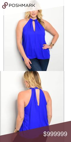 "✨PLUS-COMING SOON!!✨ ✨COMING SOON!!!✨ Plus size royal blue tank top! 100% polyester. Sizes 1X, 2X, and 3X. Open back and very flirty! 💙 L: 27"" B: 48"" W:48"" Tops Tank Tops"