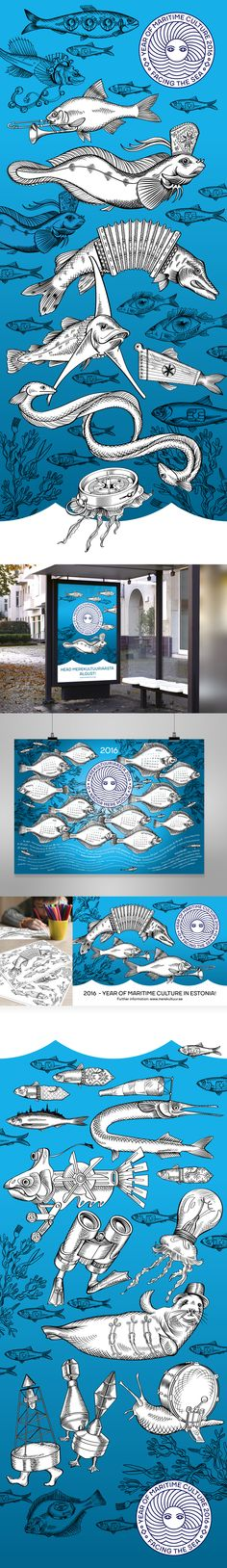 Merekultuuriaasta 2016 (Year of Maritime Culture) identity and illustrations. Design and illustrations Maret Põldre, Creative Director Ionel Lehari.www.identity.ee.