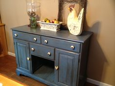 Dresser turned buffet - just need to build the wine rack. Annie Sloan Chalk Paint - Greek Blue and lots of dark wax.
