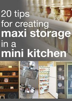 Maximize your small storage space in a small kitchen! Tips for your Small Kitchen Organization ideas for pantry or small space. Maximize your small storage space in a small kitchen! Tips for your Small Kitchen Organization ideas for pantry or small space. Small Kitchen Storage, Mini Kitchen, Kitchen Organization, Organization Hacks, New Kitchen, Kitchen Decor, Kitchen Design, Organized Kitchen, Small Storage