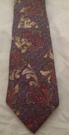 Henry Grethel Floral And Paisley Necktie 100% Italian Silk Multi Color  #HenryGrethel #Tie