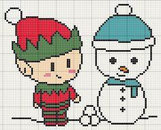 Making+friends+snowman+and+elf+cross+stitch+design.jpg (725×586)