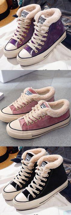 99ed72d952c5 Platform Warm Canvas Lace-up Suede Shoes
