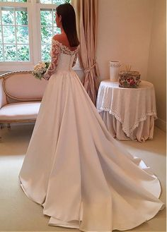 Buy discount Wonderful Tulle & Satin Off-the-shoulder Neckline A-line Wedding Dress With Lace Appliques at Dressilyme.com