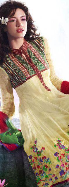 $105.60 Gold Net Designer Salwar Kameez 16694
