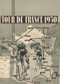 Vintage Cycling TOUR de FRANCE 1950 MAP