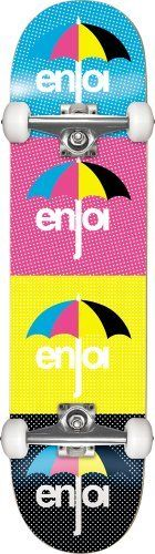 Enjoi CMYK Full Complete Skateboard (Multi, 7.6-Inch) by Enjoi. $97.95. Size: FUL7.6. Spend your days at the skate park rain or shine on the CMYK complete from Enjoi. It features layered Enjoi lettering on the bottom with umbrella and polka dot graphics, 53mm Enjoi wheels and royal trucks for a smooth ride.Enjoi custom graphicsResin-7 epoxy constructionLighter and stronger than the standard 7-plyEnjoi 53mm wheelsRoyal trucksEnjoi bearingsEnjoi hardwareJessup grip tape