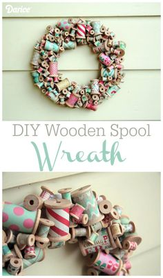 Make Your Own Wooden Spool DIY Wreath This would look great with strips of fabric instead of paper. I have many wooden spools saved from years of sewing! Wooden Spool Crafts, Wooden Spools, Wooden Diy, Wooden Hoop, Wreath Crafts, Diy Wreath, Diy Crafts, Diy Xmas, Couronne Diy