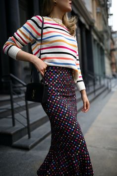 As evidenced by today's look, the unseasonable spike in temperatures last week had me in a particularly colorful mood. Nyc Fashion, Look Fashion, Girl Fashion, Fashion Outfits, Fashion Design, Classic Fashion, Colourful Outfits, Colorful Fashion, Cool Outfits