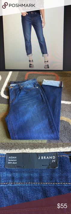 "J. Brand jeans  NWT Style is Aidan Jeans are dark wash inseam is 30"" uncuffed Anthropologie Jeans Boyfriend"