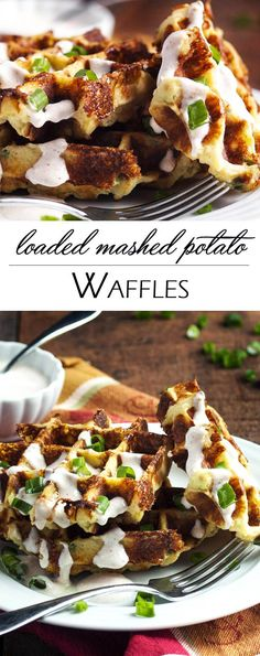 Loaded Mashed Potato Waffles - Mashed Potato Waffles Are Filled With Scallions And Cheese And Are An Awesomely Tasty Way To Enjoy Leftover Mashed Potatoes. When You Try Them You May Find Yourself Making Mashed Potatoes Specifically To Enjoy These Waffles Loaded Mashed Potatoes, Leftover Mashed Potatoes, Mashed Potato Recipes, Cheesy Potatoes, Baked Potatoes, Loaded Potato, Potato Waffles, Savory Waffles, Pancakes And Waffles