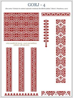 Semne Cusute: ie din Gorj, OLTENIA - Romanian blouse from Oltenia - the finest area in my home country Folk Embroidery, Embroidery Patterns, Knitting Patterns, Cross Stitch Designs, Cross Stitch Patterns, Wedding Album Design, Palestinian Embroidery, Craft Fairs, Cross Stitching