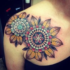 Mandala tattoos:Mandalas are circle pattern that are used in religious ceremonie. Mandala tattoos are geometric illustration of spiritual beliefs. Fake Tattoo, Tattoo On, Cover Up Tattoos, Piercing Tattoo, Mandala Flower Tattoos, Mandala Tattoo Design, Leaf Tattoos, Body Art Tattoos, Tattoo Flowers