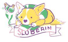 'Sloberin Corgi' Sticker by Daamile Slytherin, Hogwarts Crest, Harry Potter Artwork, Harry Potter Love, Logo Slime, Cute Corgi, Pink Wallpaper Iphone, Cute Japanese, Mischief Managed