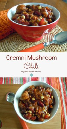 Cremini Mushroom Chili is loaded with vegetables and spices.  Gluten-free too!