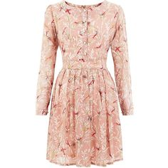 Tenki Pink Bird Floral Print Long Sleeved Dress ($43) ❤ liked on Polyvore featuring dresses, pink floral print dress, flower print dress, bird print dress, day to night dresses and button front dress