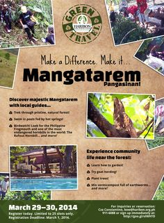 A poster I made for The Haribon Foundation highlighting a voluntourism campaign that took place in Mangatarem, Pangasinan in March of 2014.