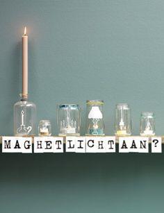 #DIY #mood lighting #tea lights #glass jars - zelfmaakidee: #sfeerverlichting #theelichtjes #glazen potten - kijk op: www.101woonideeen.nl