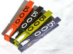 HALLOWEEN BOO CLOTHESPINS hand painted magnetic by SugarAndPaint, $12.00