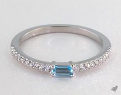 14K White Gold Topaz Baguette and Diamond Ring (December) | This stackable ring has a Topaz gemstone baguette perfectly positioned on a slender brilliant pavé band. | Ring style 15130W14 on JamesAllen.com. Click to view this ring and other stackable rings in 360° HD