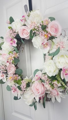 Garden Party Wreath Wedding Summer Decor All Occasion Easter Wreaths, Holiday Wreaths, Pink Wreath, Floral Wreath, Wedding Wreaths, Wedding Decorations, Summer Wreath, Spring Wreaths, White And Pink Roses