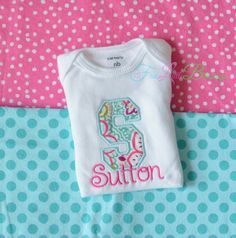 Letter Applique  Baby shower gift  personalize by 5littleblessings, $21.00