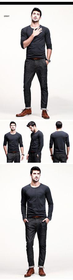KUEGOU Mens Plain round neck long sleeve T-Shirt - Deep Grey (XXL) - Free Shipping - DealExtreme
