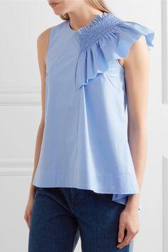 cb21399c7be89 Sky-blue cotton-blend Concealed asymmetric zip fastening along back 96%  cotton