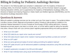 Q and A on billing and coding for pediatric audiology services