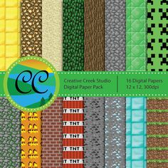 Free Minecraft green grass block wrapping paper pattern to use as ...