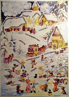 Illustrated by Anita Rahlwes. Christmas Scenes, Noel Christmas, Vintage Christmas Cards, Christmas Images, Advent Calander, Winter Time, Yule, Biscuits, Diy And Crafts