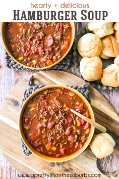 This Hamburger Soup is an Easy Weeknight Meal! Loaded with ground beef and vegetables, this soup is hearty and delicious! Hamburg Soup Recipes, Hamburger Soup, Healty Dinner, Batch Cooking, Easy Weeknight Meals, Spring Recipes, Soups And Stews, Food Print, Dinner Recipes