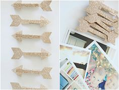 glitter arrows made using double sided adhesive and Silhouette glitter : by I heart organizing