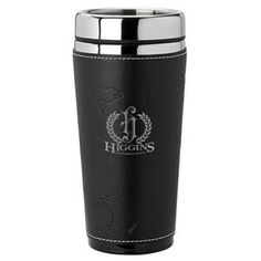 "16 Oz. Debossed Leatherette Sleeve W/ World Map Tumbler Stainless steel and acrylic mug with slide top lid, white stitched sleeve with debossed world design. 3 1/4"" W x 7"" H x 3 1/4"" D"