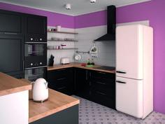 Kuchnia pomalowana specjalną farbą w zdecydowanym kolorze. Piękna i funkcjonalna ściana.