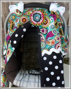 Hey, I found this really awesome Etsy listing at http://www.etsy.com/listing/111054327/girl-carseat-canopy-paisley-dots-with