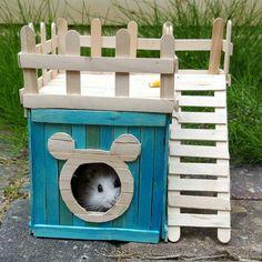 7 little cuttie ! Diy Hamster House, Hamster Diy Cage, Hamster Life, Hamster Habitat, Hamster Toys, Pet Mice, Pet Rats, Diy Rat Toys, Popsicle Stick Houses