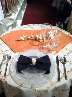 Wedding colors/potential place setting. The orange is more of a dusky gold-orange, it looks much orange-er here.