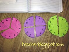 """Further the understanding of """"half hour"""" """"quarter hour"""" by using these fraction pieces. Have students create their own elapsed time problems."""