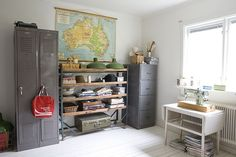 vintage school lockers (home office)